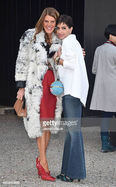 Anna Dello Russo and guest attend the Miu Miu show as part of Paris Fashion Week Fall Winter 2015/2016 on March 11 2015 in Paris France