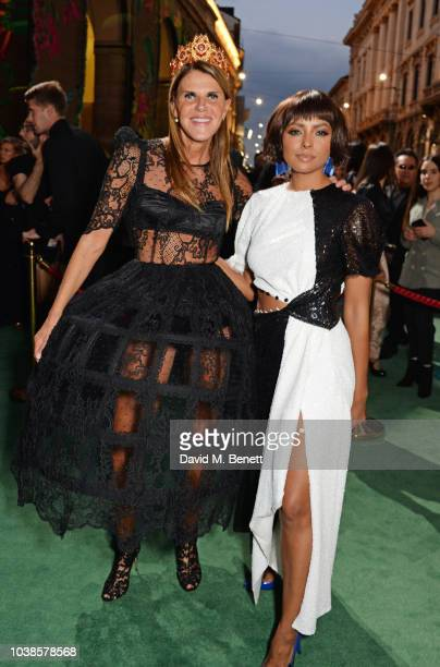 Anna Dello Russo and Kat Graham attend The Green Carpet Fashion Awards Italia 2018 at Teatro Alla Scala on September 23, 2018 in Milan, Italy.