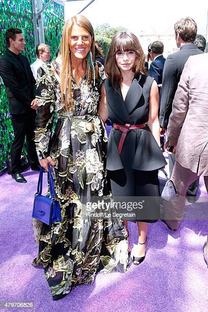 Anna Dello Russo and Miroslava Duma attend the Christian Dior show as part of Paris Fashion Week Haute Couture Fall/Winter 2015/2016 on July 6 2015...
