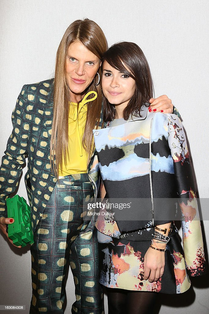 Anna Dello Russo and Miroslava Duma (R) pose together backstage at the Giambattista Valli Fall/Winter 2013 Ready-to-Wear show as part of Paris Fashion Week on March 4, 2013 in Paris, France.