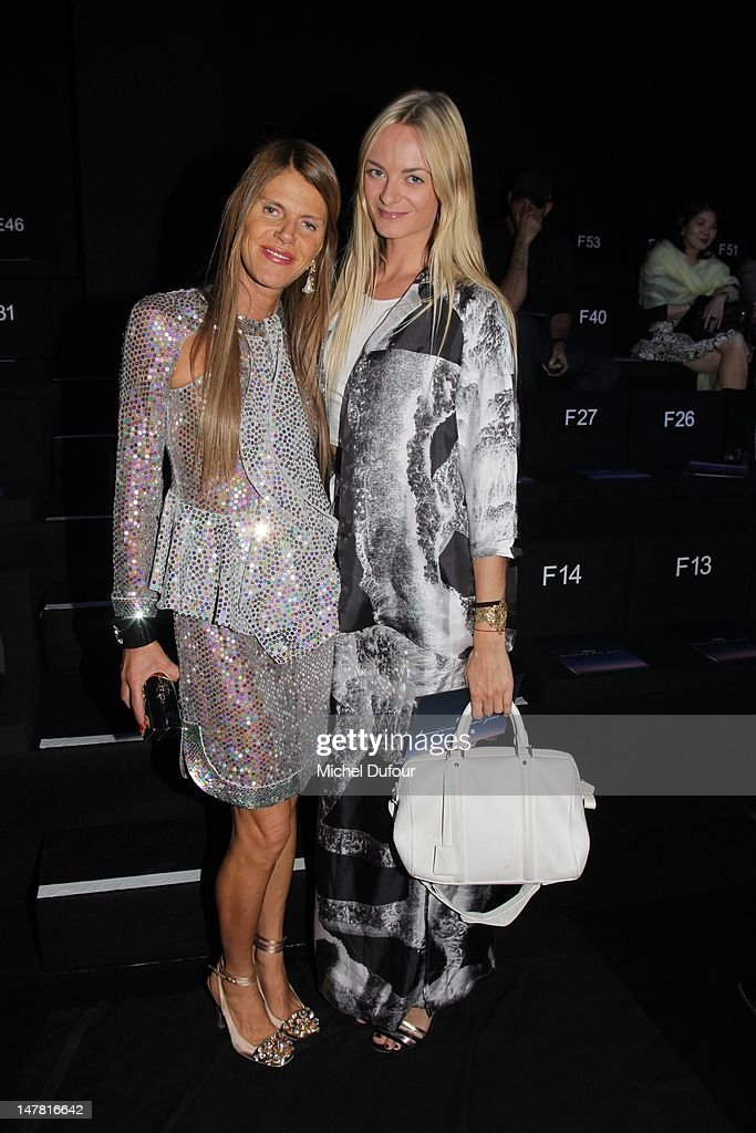 Anna Dello Russo and Virginie Courtin attend the Giorgio Armani Prive Haute-Couture Show as part of Paris Fashion Week Fall / Winter 2012/13 at Palais de Chaillot on July 3, 2012 in Paris, France.
