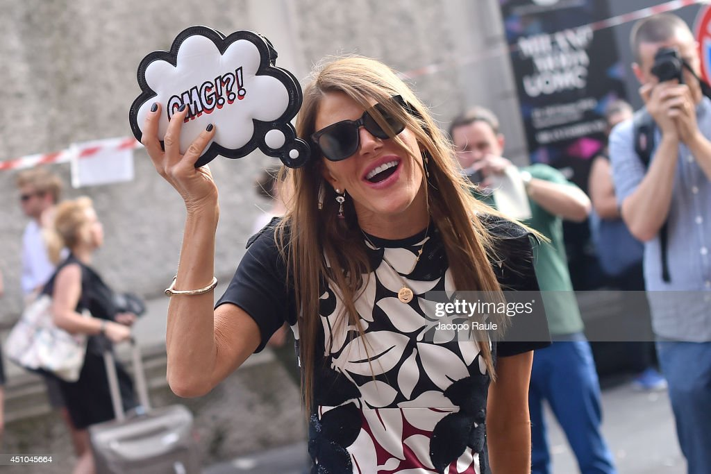 Anna Dello Russo arrives at Prada during Milan Fashion Week Menswear Spring/Summer 2015 on June 22, 2014 in Milan, Italy.
