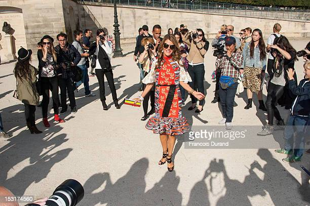 Anna Dello Russo arrives at the Chloe Spring / Summer 2013 show as part of Paris Fashion Week at Espace Ephemere Tuileries on October 1 2012 in Paris...