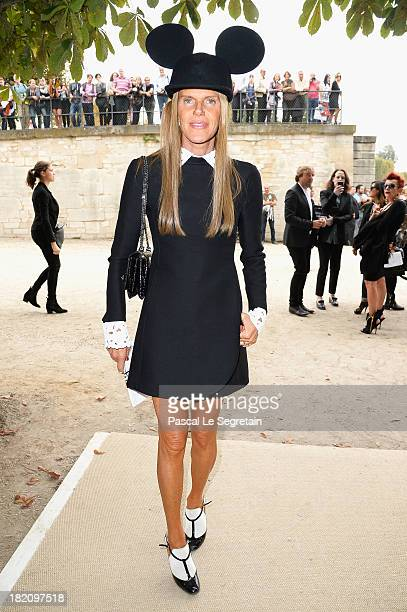 Anna Dello Russo arrives at the Viktor Rolf show as part of the Paris Fashion Week Womenswear Spring/Summer 2014 at Espace Ephemere Tuileries on...