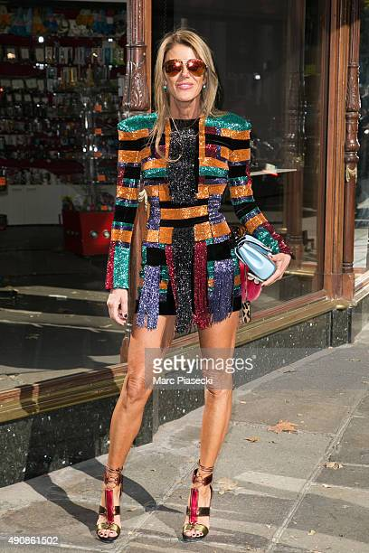 Anna Dello Russo arrives to attend the 'BALMAIN' fashion show during the RTW Paris Fashion Week on October 1 2015 in Paris France