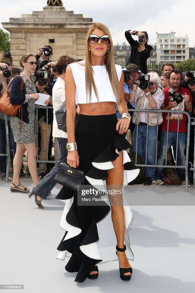 Anna Dello Russo arrives to attend the Christian Dior show as part of Paris Fashion Week Haute Couture Fall/Winter 2013-2014 at on July 1, 2013 in Paris, France.
