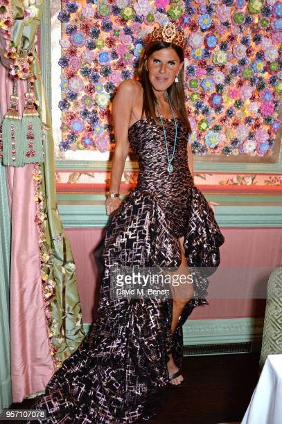 Anna Dello Russo attends a private dinner to celebrate the launch of AdR Book Beyond Fashion a new Phaidon book by Anna Dello Russo at Annabel's...