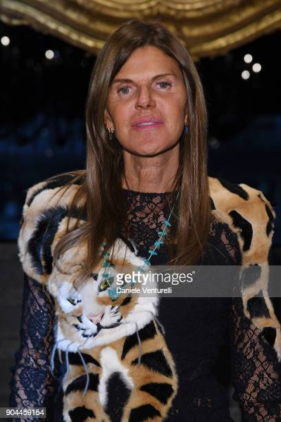 Anna Dello Russo attends the Dolce Gabbana show during Milan Men's Fashion Week Fall/Winter 2018/19 on January 13 2018 in Milan Italy