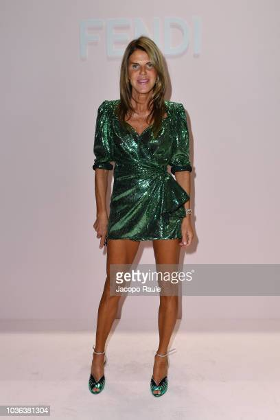 Anna Dello Russo attends the Fendi show during Milan Fashion Week Spring/Summer 2019 on September 20 2018 in Milan Italy