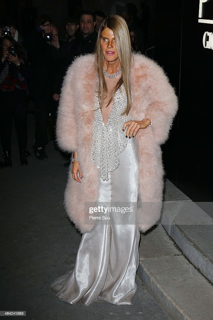 Anna Dello Russo attends the Giorgio Armani Prive show as part of Paris Fashion Week Haute Couture Spring/Summer 201 on January 21, 2014 in Paris, France.