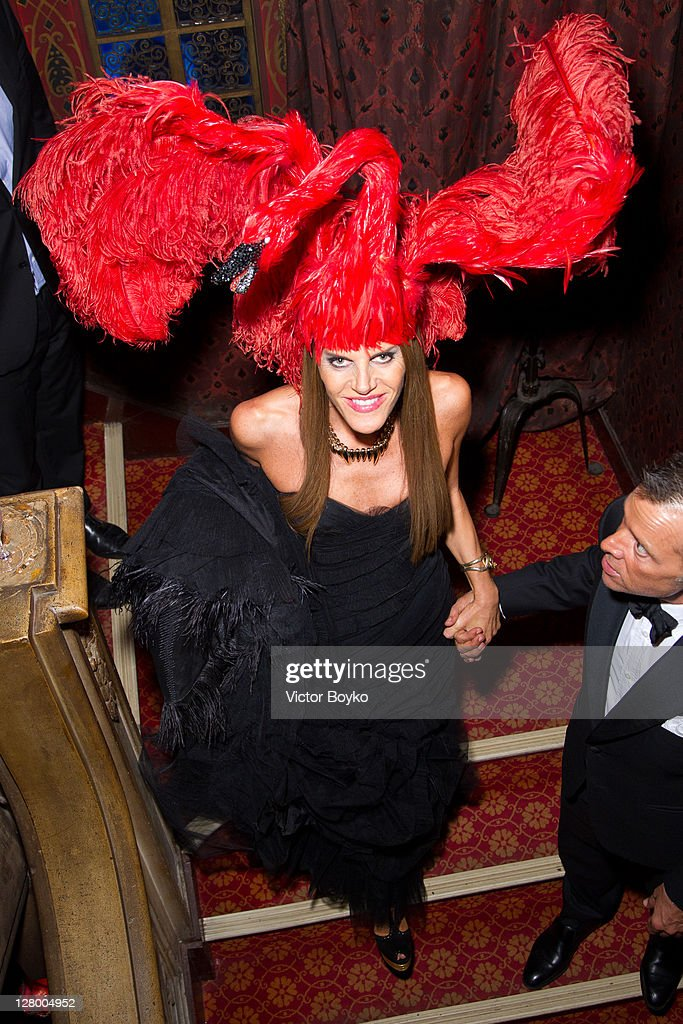 Anna Dello Russo attends the Irreverent Dinner hosted by Carine Roitfeld at Cabaret Raspoutine on October 4, 2011 in Paris, France.