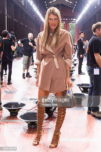 Anna Dello Russo attends the Kenzo show at 'Cite du Cinema' of SaintDenis as part of the Paris Fashion Week Womenswear Spring/Summer 2014 on...