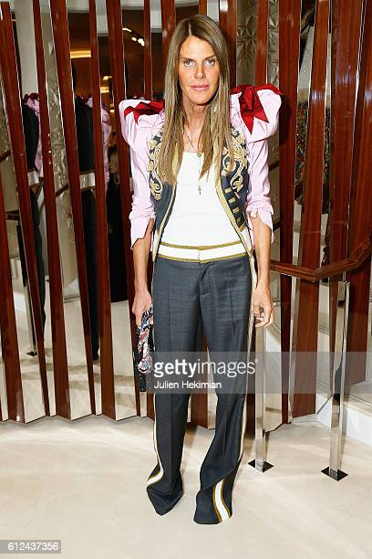 Anna Dello Russo attends the Lonchamp Cocktail as part of the Paris Fashion Week Womenswear Spring/Summer 2017 at Longchamp Boutique St Honore on...