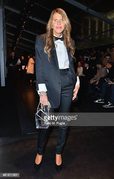 Anna Dello Russo attends the Neil Barrett show as a part of Milan Fashion Week Menswear Autumn/Winter 2014 on January 11 2014 in Milan Italy