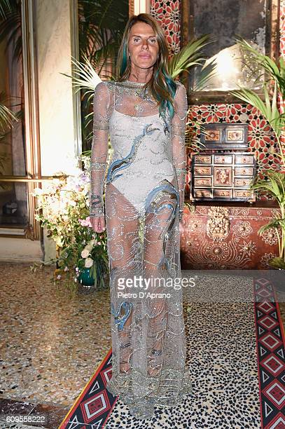 Anna Dello Russo attends the Roberto Cavalli show during Milan Fashion Week Spring/Summer 2017 on September 21 2016 in Milan Italy