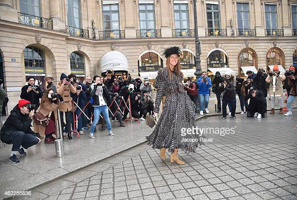 Anna Dello Russo attends the Schiaparelli show as part of Paris Fashion Week Haute Couture Spring/Summer 2015 on January 26 2015 in Paris France