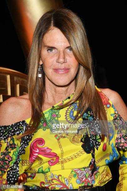 Anna Dello Russo attends the Versace show at Milan Fashion Week Autumn/Winter 2019/20 on February 22 2019 in Milan Italy
