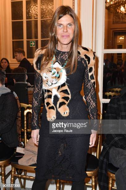 Anna Dello Russo attends the Versace show during Milan Men's Fashion Week Fall/Winter 2018/19 on January 13 2018 in Milan Italy