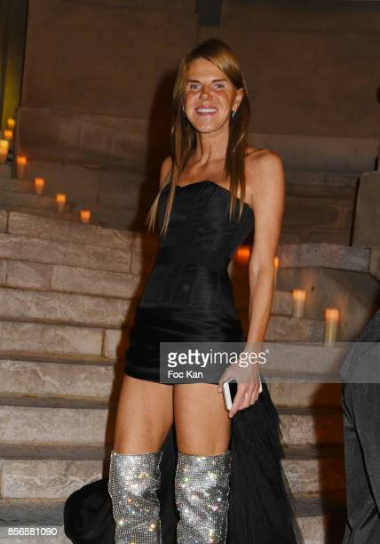 Anna Dello Russo attends The Vogue Party Outside Arrivals as part of the Paris Fashion Week Womenswear Spring/Summer 2018 on October 1 2017 in Paris...