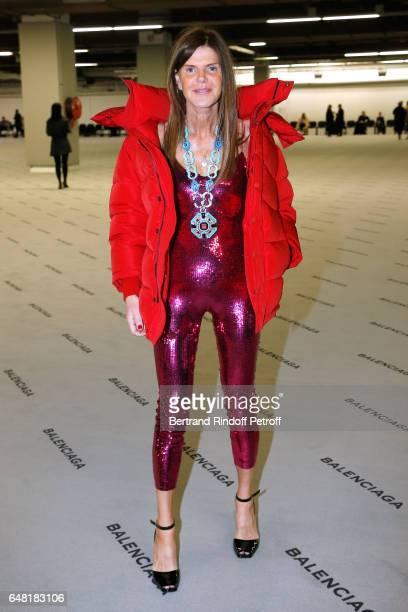 Anna Dello Russo dressed in Balenciaga attends the Balenciaga show as part of the Paris Fashion Week Womenswear Fall/Winter 2017/2018 Held at Espace...