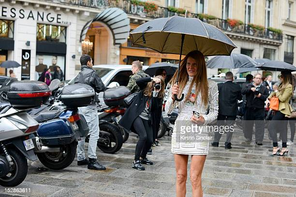 Anna Dello Russo editor at large for Vogue Japan on day 3 of Paris Fashion Week Womenswear Spring/Summer 2013 on September 27 2012 in Paris France
