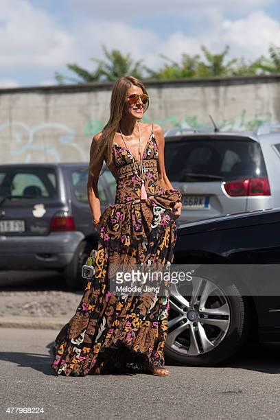 Anna Dello Russo exits the Salvatore Ferragamo show in Dolce Gabbana on June 21 2015 in Milan Italy