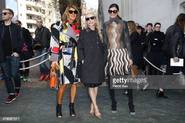 Anna Dello Russo, Franca Sozzani and Giovanna Battaglia attend the Celine show as part of the Paris Fashion Week Womenswear Fall/Winter 2014-2015 on...
