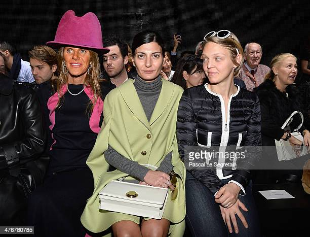 Anna Dello Russo Giovanna Battaglia and Arianna Fontana attend the Moncler Gamme Rouge show as part of the Paris Fashion Week Womenswear Fall/Winter...