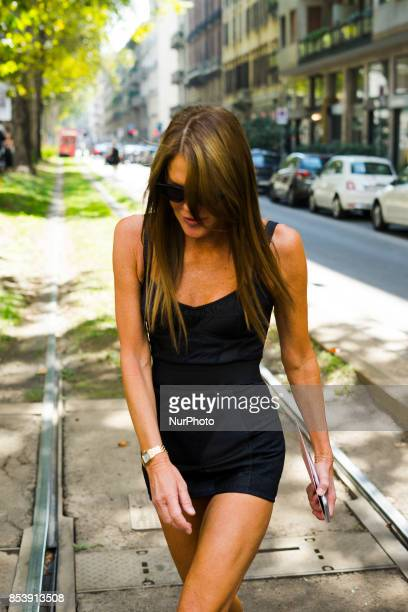 Anna Dello Russo in the street before Dolce amp Gabbana fashion show S/S 2018 at Milan Fashion Week Spring/Summer 2018 in Milan Italy on September 24...