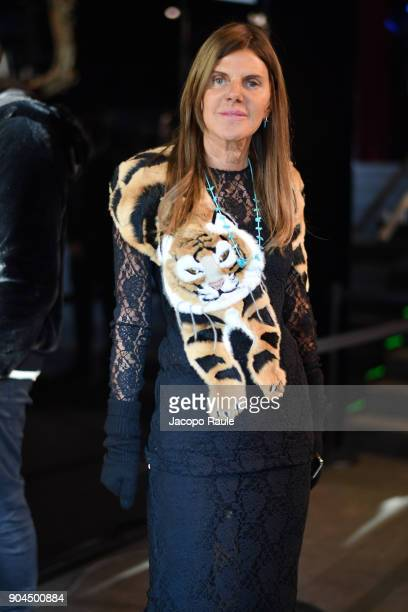 Anna Dello Russo is seen arriving at Dolce Gabbana Fashion Show during Milan Men's Fashion Week Fall/Winter 2018/19 on January 13 2018 in Milan Italy