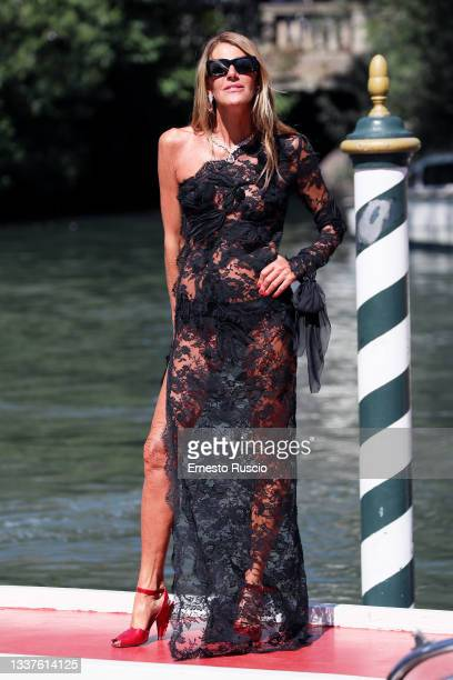 Anna Dello Russo is seen arriving at the 78th Venice International Film Festival on September 01, 2021 in Venice, Italy.