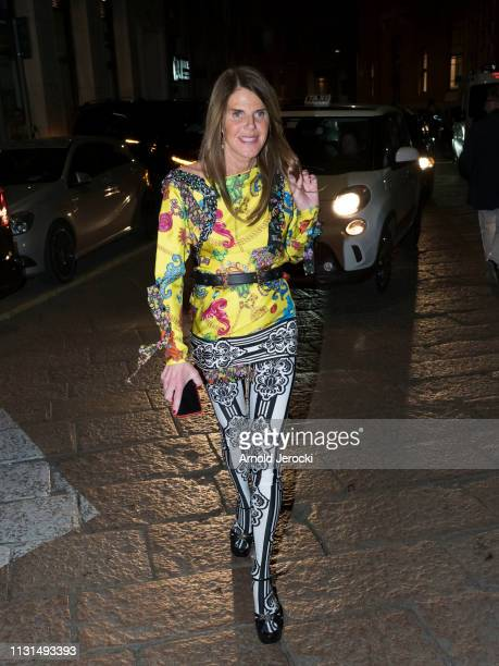 Anna dello Russo is seen arriving to Versace fashion show on Day 3 Milan Fashion Week Autumn/Winter 2019/20 on February 22 2019 in Milan Italy