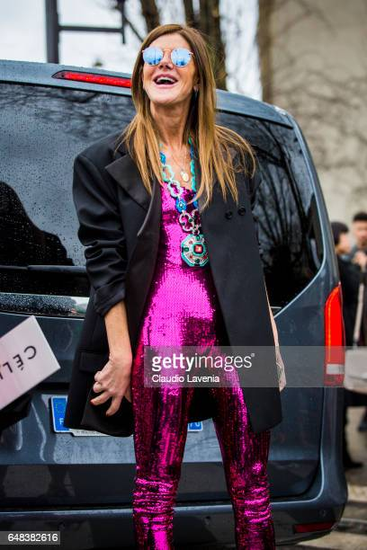 Anna Dello Russo is seen in the streets of Paris before the Celine show during Paris Fashion Week Womenswear Fall/Winter 2017/2018 on March 5 2017 in...