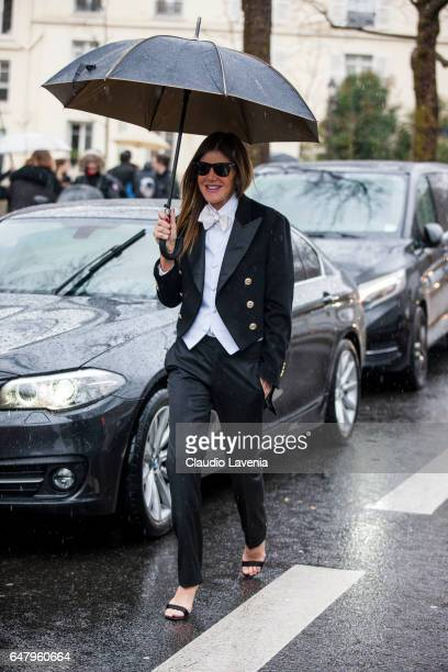 Anna Dello Russo is seen in the streets of Paris before the Mugler show during Paris Fashion Week Womenswear Fall/Winter 2017/2018 on March 4 2017 in...