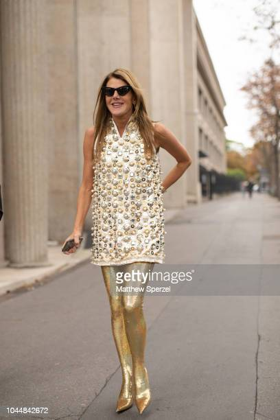 Anna Dello Russo is seen on the street during Paris Fashion Week SS19 wearing Miu Miu on October 2 2018 in Paris France