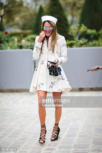 Anna Dello Russo is seen outside of the Christian Dior show during Paris Fashion Week Spring Summer 2017 at the Rodin museum on September 30 2016 in...