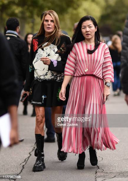 Anna Dello Russo is seen outside the Valentino dress show during Paris Fashion Week SS20 on September 29, 2019 in Paris, France.
