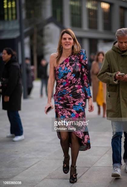 Anna dello Russo is seen wearing dress outside Neil Barrett during Milan Menswear Fashion Week Autumn/Winter 2019/20 on January 12, 2019 in Milan,...