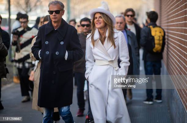 Anna dello Russo is seen wearing white coat and hat outside Fendi on Day 2 Milan Fashion Week Autumn/Winter 2019/20 on February 21 2019 in Milan Italy