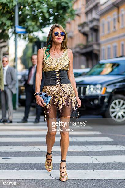 Anna dello Russo outside Prada during Milan Fashion Week Spring/Summer 2017 on September 22 2016 in Milan Italy