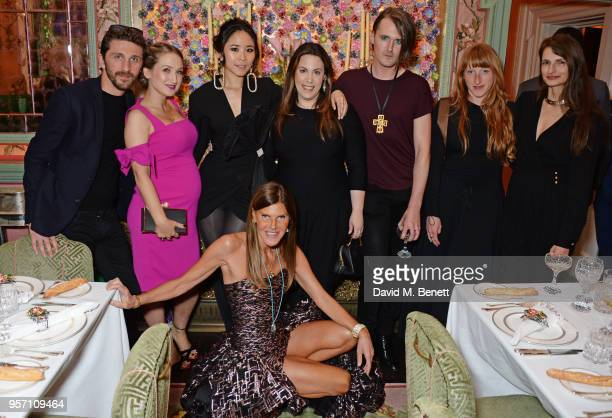 Anna Dello Russo poses with designers David Koma Sophia Webster Nga Nguyen Mary Katrantzou Gareth Pugh Molly Goddard and Alessandra Rich attend a...