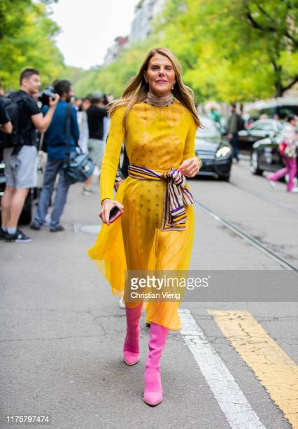 Anna dello Russo seen wearing yellow sheer dress outside the Fendi show during Milan Fashion Week Spring/Summer 2020 on September 19, 2019 in Milan,...