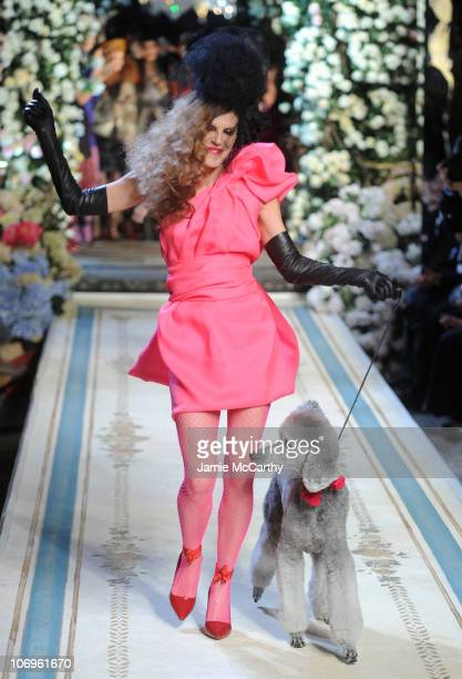Anna Dello Russo walks the runway during the Lanvin for HM Haute Couture Show at The Pierre Hotel on November 18 2010 in New York City