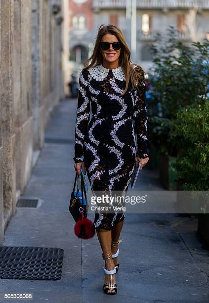 Anna Dello Russo wearing Dolce Gabbana dress and bag during Milan Men's Fashion Week Fall/Winter 2016/17 on January 16 in Milam Italy
