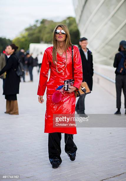 Anna dello Russo wearing Loewe at Louis Vuitton during the Paris Fashion Week Womenswear Spring/Summer 2016 on Oktober 7 2015 in Paris France