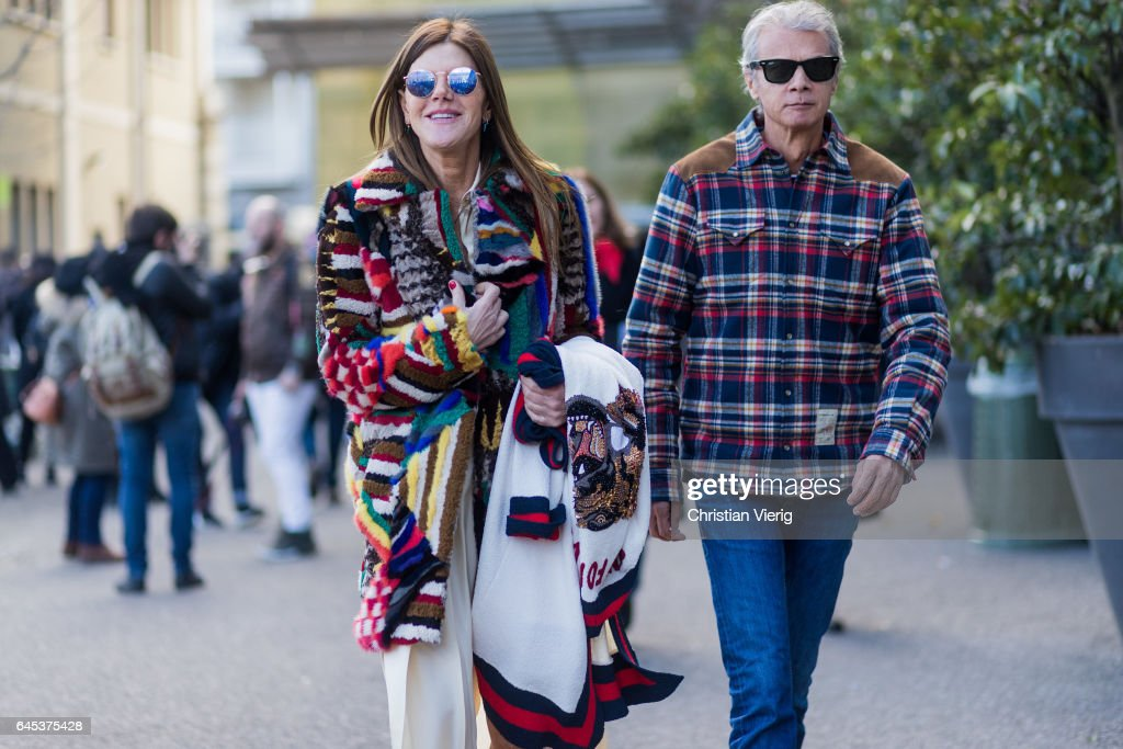 Anna dello Russo wearing Missoni coat and Angelo Gioia outside Missoni during Milan Fashion Week Fall/Winter 2017/18 on February 25, 2017 in Milan, Italy.