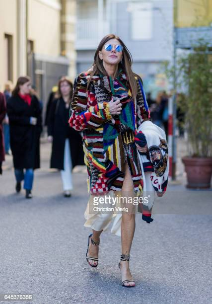 Anna dello Russo wearing Missoni coat heels outside Missoni during Milan Fashion Week Fall/Winter 2017/18 on February 25 2017 in Milan Italy