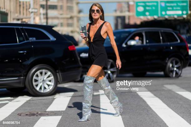 Anna dello Russo wearing YSL glitter boots seen in the streets of Manhattan outside Michael Kors during New York Fashion Week on September 13 2017 in...