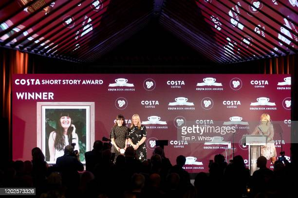 Anna Dempsey announced tonight as winner of the 2019 Costa Short Story Award pictured with Costa Coffee MD Jill McDonald and presenter Penny Smith at...