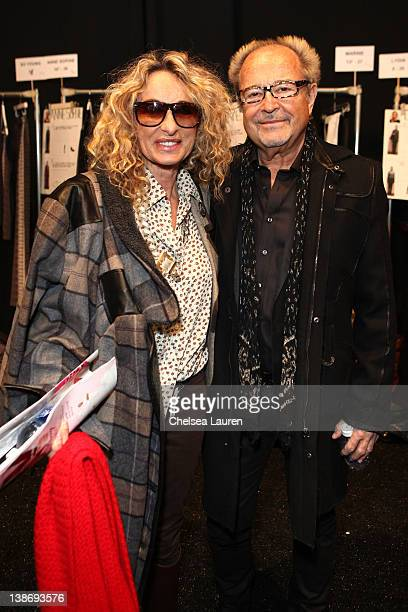 Anna Dexter Jones and Mick Jones attend backstage at the Charlotte Ronson Fall 2012 fashion show during MercedesBenz Fashion Week at The Stage at...